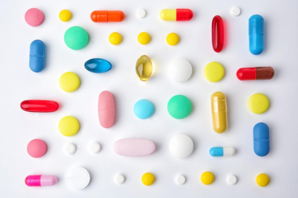 arrangement of colorful pills